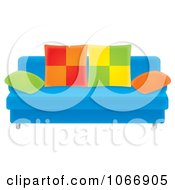 Clipart Blue Sofa With Colorful Pillows Royalty Free Illustration by Alex Bannykh