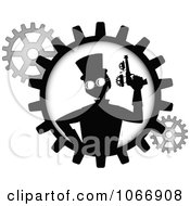 Clipart Silhouetted Steampunk Man With A Gun In A Gear Royalty Free Vector Illustration by mheld #COLLC1066908-0107