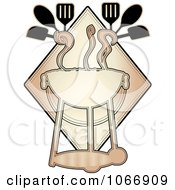 Clipart Bbq With Utensils Logo Royalty Free Vector Illustration by mheld
