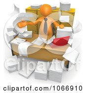 3d Orange Businessman In A Messy Office