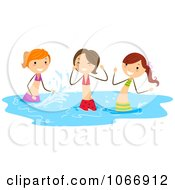 Clipart Stick Girls Splashing In Water Royalty Free Vector Illustration