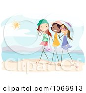 Clipart Stick Girls Talking On A Beach Royalty Free Vector Illustration
