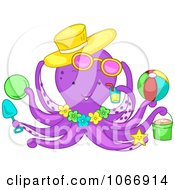 Clipart Summer Octopus With Beach Items Royalty Free Vector Illustration by BNP Design Studio