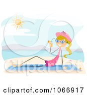 Clipart Stick Girl Sipping A Beverage On A Beach Royalty Free Vector Illustration