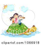 Clipart Stick Kids Riding On A Turtle Royalty Free Vector Illustration by BNP Design Studio