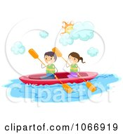 Clipart Stick Kids Kayaking Royalty Free Vector Illustration