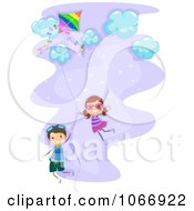 Clipart Stick Kids Floating On A Kite String Royalty Free Vector Illustration