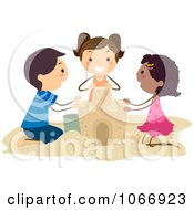 Clipart Diverse Stick Kids Building A Sand Castle Royalty Free Vector Illustration