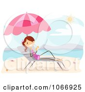 Clipart Stick Girl Under A Parasol With A Beverage Royalty Free Vector Illustration