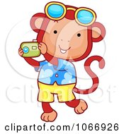 Clipart Tourist Monkey Taking Pictures Royalty Free Vector Illustration