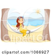 Clipart Stick Girl On A Beach Hammock Royalty Free Vector Illustration