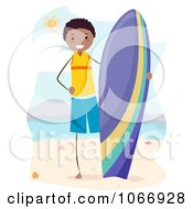 Clipart Stick Boy With A Surfboard Royalty Free Vector Illustration