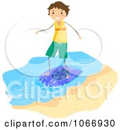 Clipart Stick Boy Skimboarding Royalty Free Vector Illustration