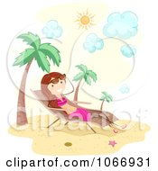 Clipart Stick Girl Sun Bathing On A Tropical Beach Royalty Free Vector Illustration