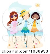 Clipart Stick Girls Walking On A Beach Royalty Free Vector Illustration