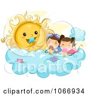 Clipart Stick Kids And Sun Eating Ice Cream Royalty Free Vector Illustration by BNP Design Studio