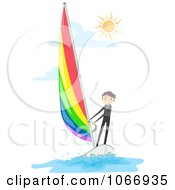 Clipart Stick Boy Wind Surfing Royalty Free Vector Illustration