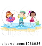 Clipart Stick Kids Playing With Floaties On The Beach Royalty Free Vector Illustration