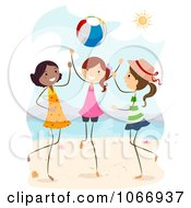 Clipart Stick Girls Playing With A Beach Ball Royalty Free Vector Illustration