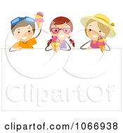 Clipart Stick Kids Eating Ice Cream Over A Sign Royalty Free Vector Illustration