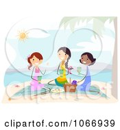Clipart Stick Women Having A Beach Picnic Royalty Free Vector Illustration