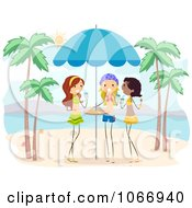 Clipart Girls Enjoying Drinks On A Beach Royalty Free Vector Illustration