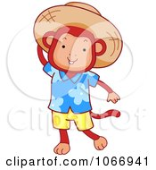 Clipart Tourist Monkey Wearing A Sun Hat Royalty Free Vector Illustration