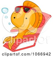 Clipart Sun Bathing Goldfish Royalty Free Vector Illustration by BNP Design Studio
