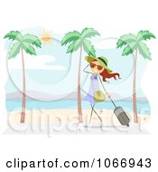 Clipart Stick Girl Walking On A Beach Boardwalk Royalty Free Vector Illustration