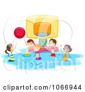 Clipart Stick Kids Playing Water Basketball Royalty Free Vector Illustration