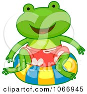 Clipart Frog On An Inner Tube Royalty Free Vector Illustration