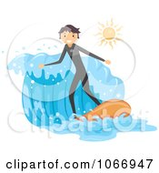 Clipart Stick Boy Surfing A Wave Royalty Free Vector Illustration