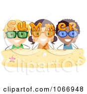 Clipart Summer Stick Kids With Sunglasses Royalty Free Vector Illustration