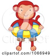Clipart Beach Monkey With An Inner Tube Royalty Free Vector Illustration
