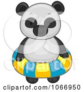 Clipart Panda With An Inner Tube Royalty Free Vector Illustration