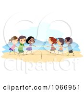 Stick Kids Playing Tug Of War On The Beach