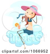 Clipart Stick Girl With A Beverage On A Cloud Royalty Free Vector Illustration