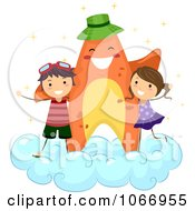 Clipart Starfish And Stick Kids On A Cloud Royalty Free Vector Illustration by BNP Design Studio