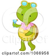 Clipart Summer Tortoise Carrying A Beverage Royalty Free Vector Illustration by BNP Design Studio