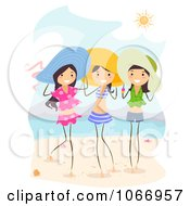Clipart Stick Girls Standing On A Beach Royalty Free Vector Illustration
