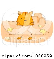 Clipart Cat Buried In The Sand Royalty Free Vector Illustration by BNP Design Studio