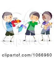 Clipart Stick Boys Playing With Squirt Guns Royalty Free Vector Illustration