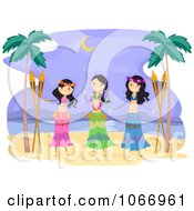 Clipart Hawaiian Hula Dancers Royalty Free Vector Illustration