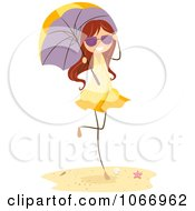 Clipart Beach Stick Girl With A Parasol Royalty Free Vector Illustration