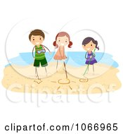 Clipart Stick Kids Drawing In The Sand Royalty Free Vector Illustration