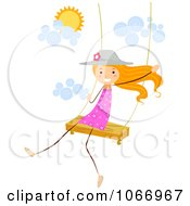 Clipart Stick Girl Swinging Royalty Free Vector Illustration