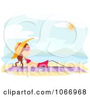 Clipart Stick Girl Listening To Music And Sun Bathing Royalty Free Vector Illustration