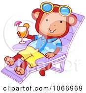 Clipart Beach Monkey On A Chaise Lounge Royalty Free Vector Illustration by BNP Design Studio