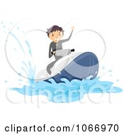 Clipart Stick Boy Riding A Waverunner Royalty Free Vector Illustration