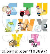 Clipart Visual Alphabet S Through Z Royalty Free Vector Illustration